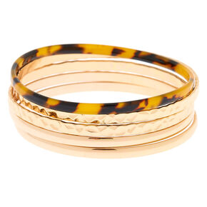 Gold Resin Tortoiseshell Bangle Bracelets - 5 Pack,
