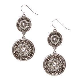 Antique Silver Tone Medallion Drop Earrings,