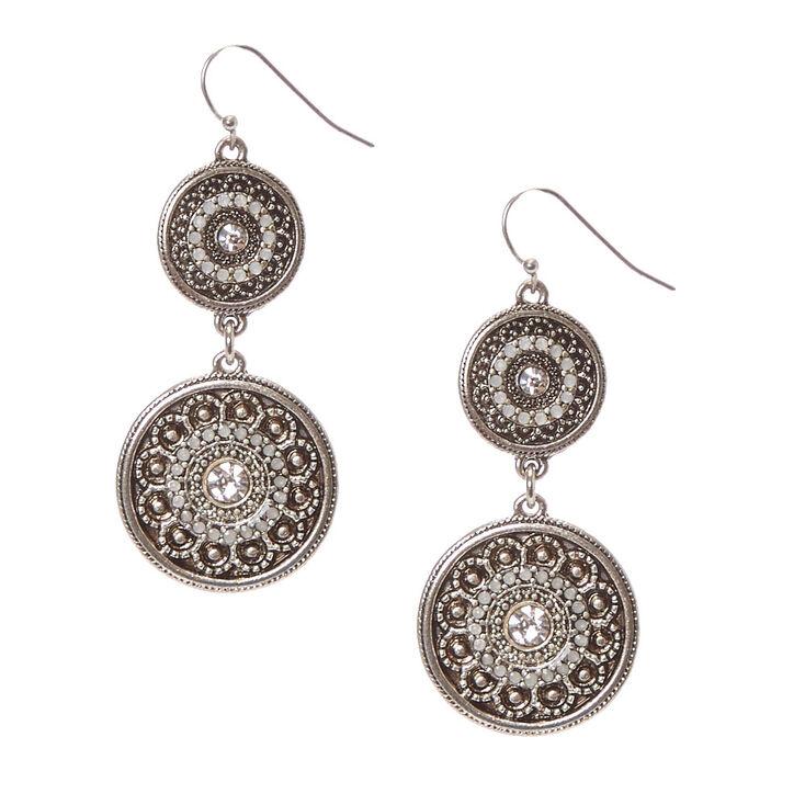 "Silver 2"" Antique Medallion Drop Earrings,"