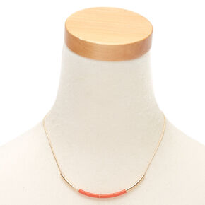 Gold Bar Statement Necklace - Coral,