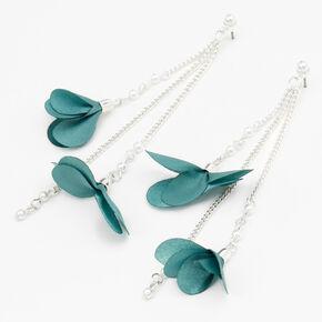 """Silver 3.5"""" Floral Pearl Linear Drop Earrings - Mint,"""