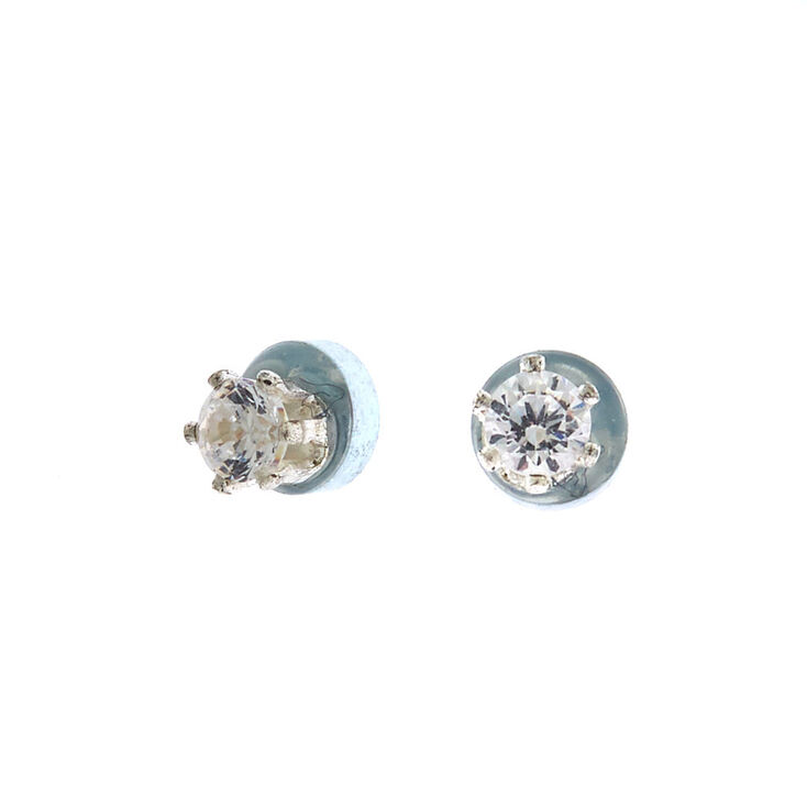 Silver Cubic Zirconia 2MM Round Magnetic Stud Earrings,