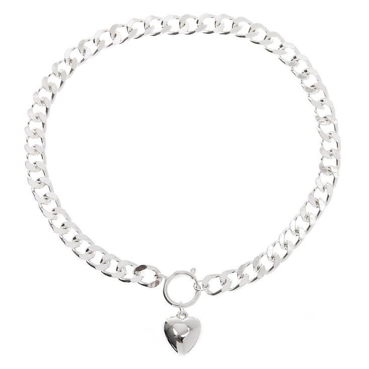 Silver Heart Pendant Chain Necklace,