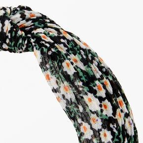 Floral Pleated Knot Headband - Green & Black,