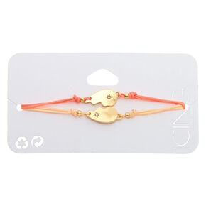 Gold Heart Adjustable Bracelets - Coral, 2 Pack,