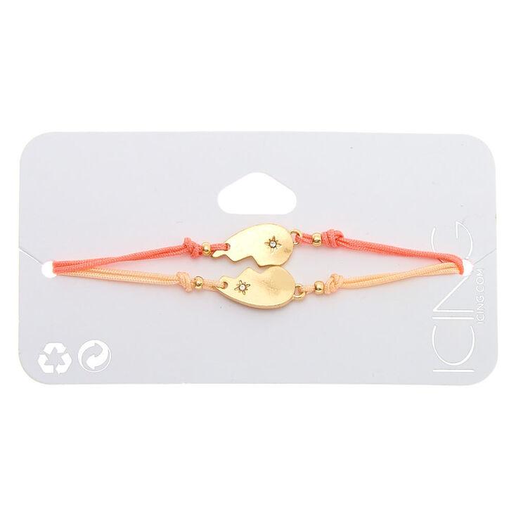 Gold Heart Adjustable Bracelets - Coral, 2 Pack,