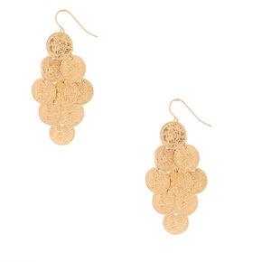 "Gold 2"" Coin Drop Earrings,"