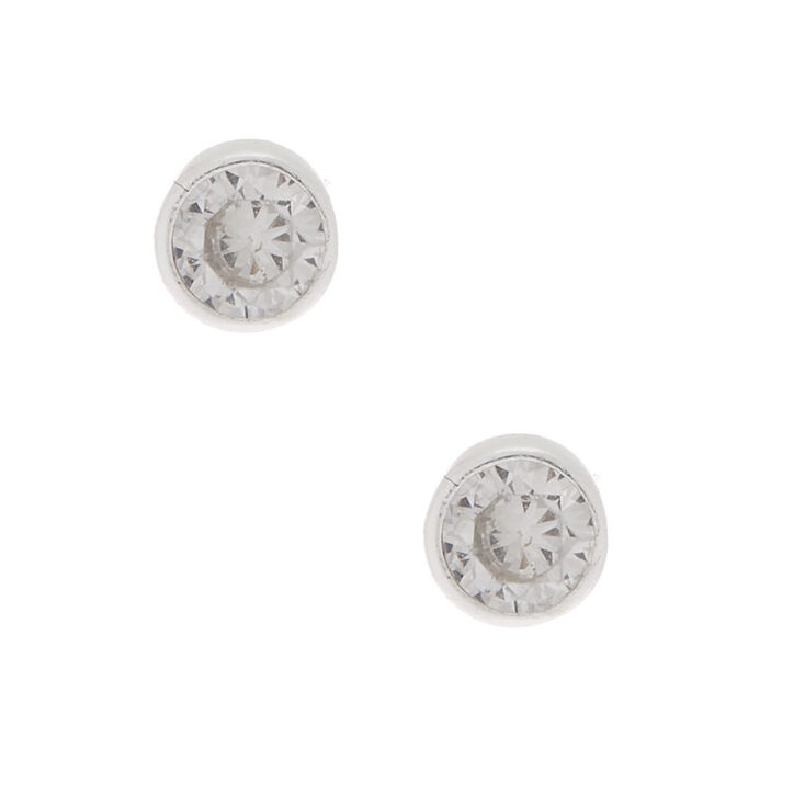 Sterling Silver Cubic Zirconia 4MM Round Bezel Stud Earrings,