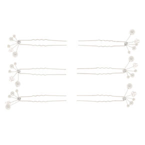 Silver Pearl Hair Pins - 6 Pack,