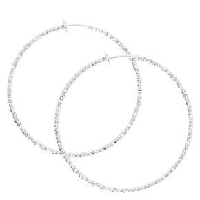Silver Textured Spring Clip Hoop Earrings,