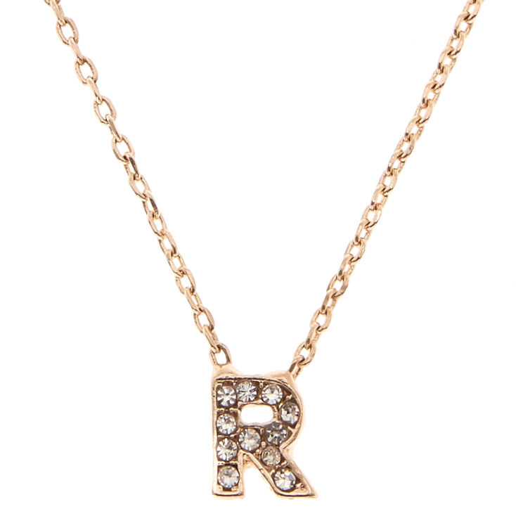 "Rose Gold Studded ""R"" Initial Necklace,"
