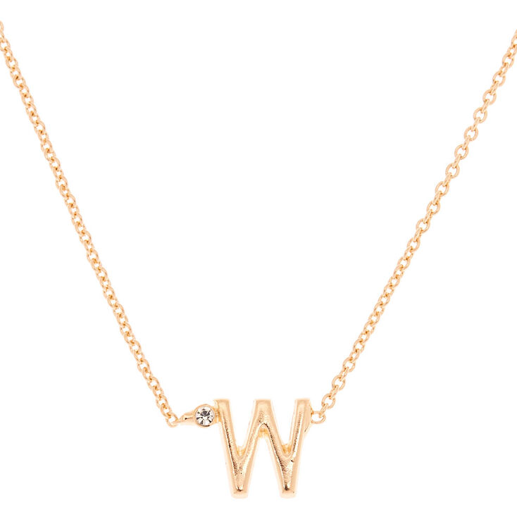 Gold Initial Necklace - W,