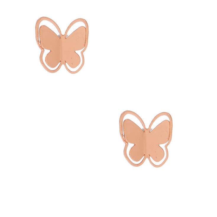 18kt Rose Gold Plated Butterfly Stud Earrings,
