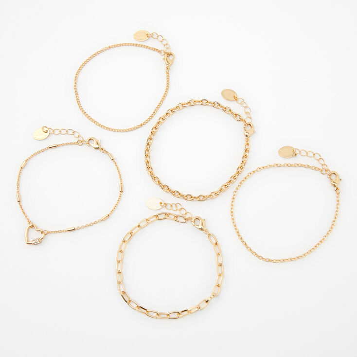 Gold Mixed Chain Bracelets - 5 Pack,