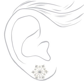 Silver Embellished Snowflake Stud Earrings,