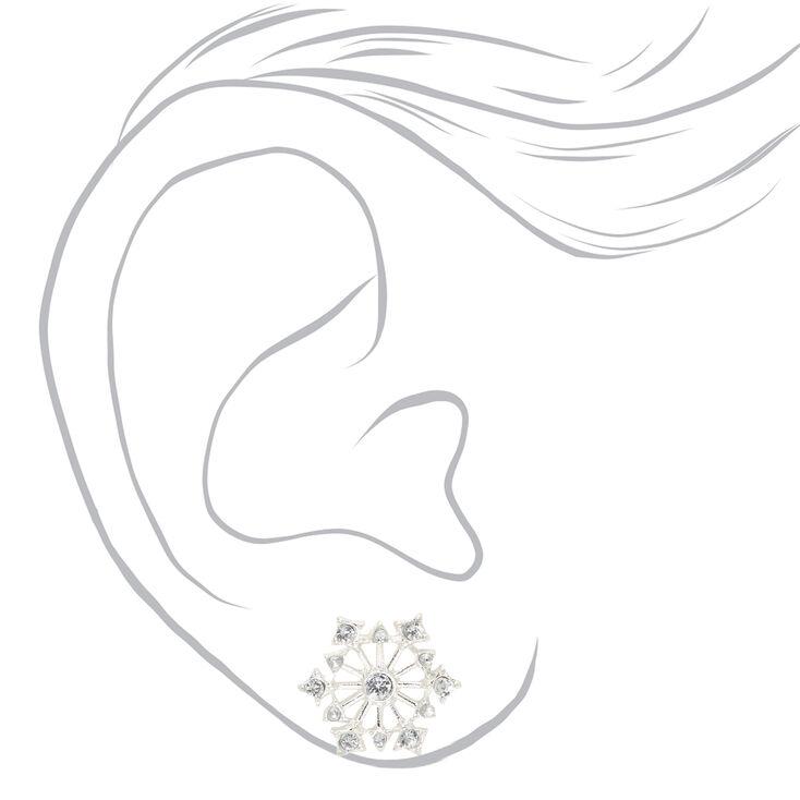 Silver Embellished Snowflake Stud Earrings,