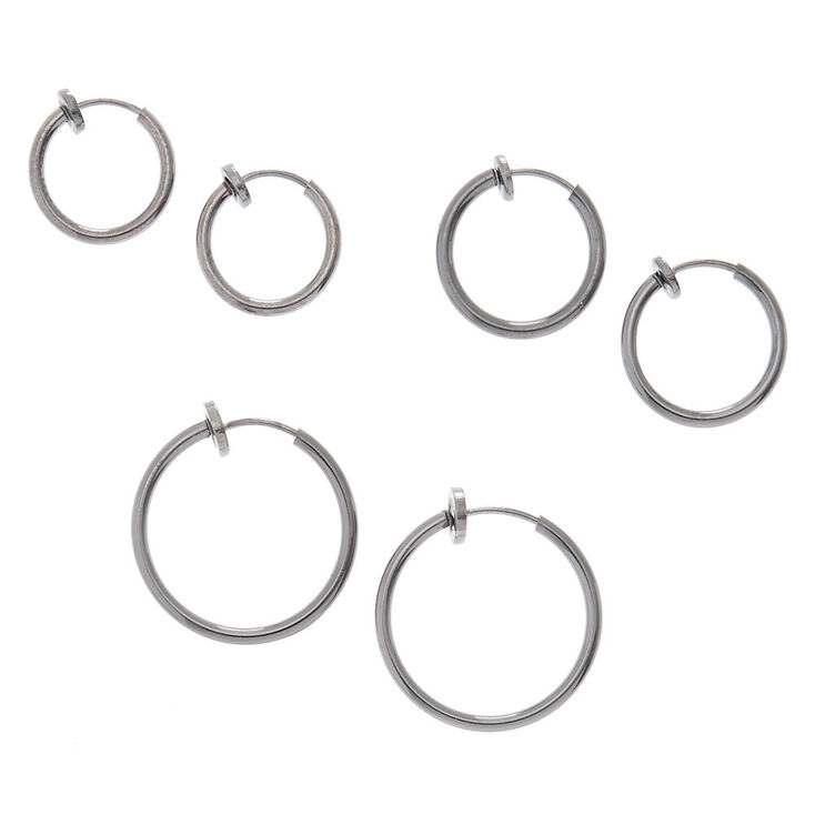 Hematite Graduated Clip On Hoop Earrings - 3 Pack,