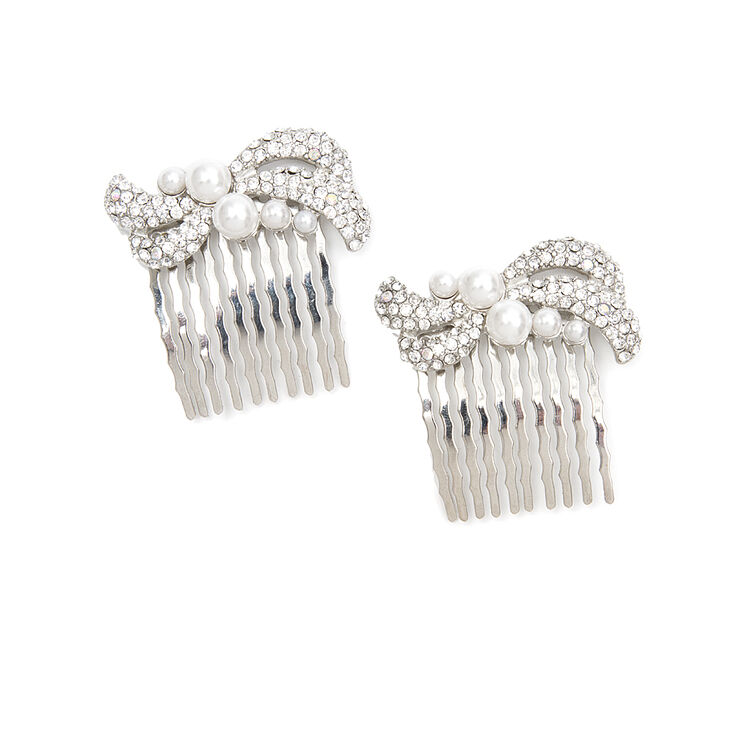 Pavé Crystal Swirl & Pearl Hair Combs Set of 2,