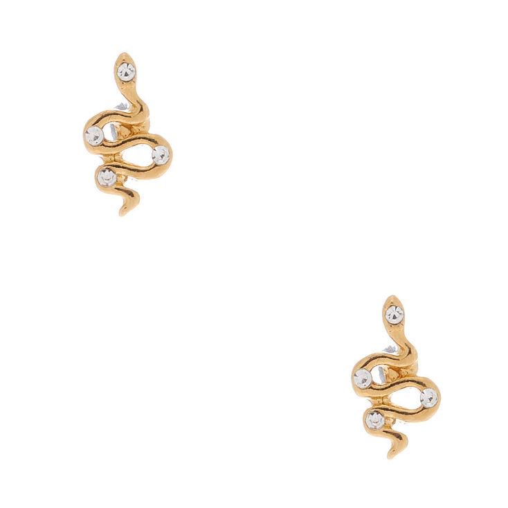 18kt Gold Plated Snake Stud Earrings,