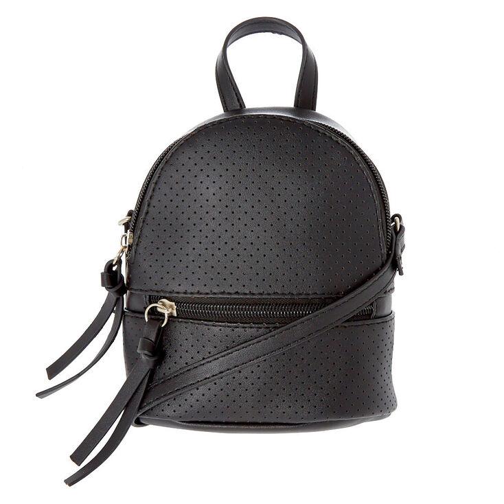 Perforated Mini Backpack Crossbody Bag - Black,