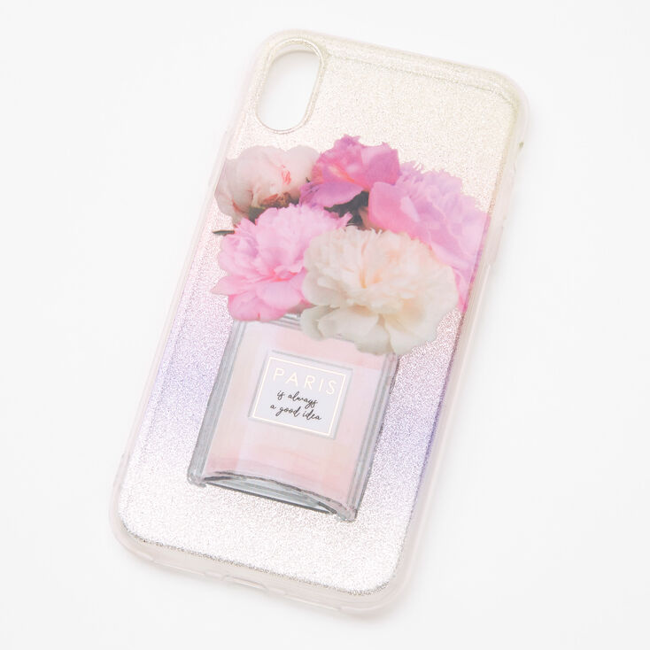 Paris Perfume Bottle Glitter Phone Case - Fits iPhone XR,