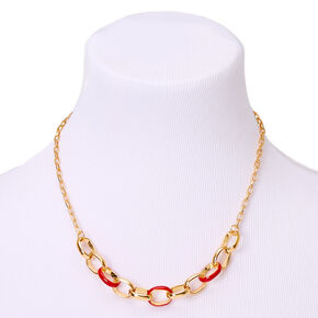 Gold Enamel Chain Link Statement Necklace - Red,