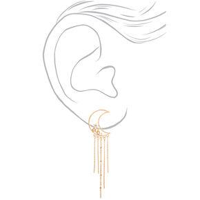 """Gold 4"""" Moon Chain Drop Earrings,"""