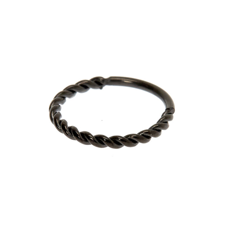 Hematite 20G Twisted Coil Hoop Nose Ring,