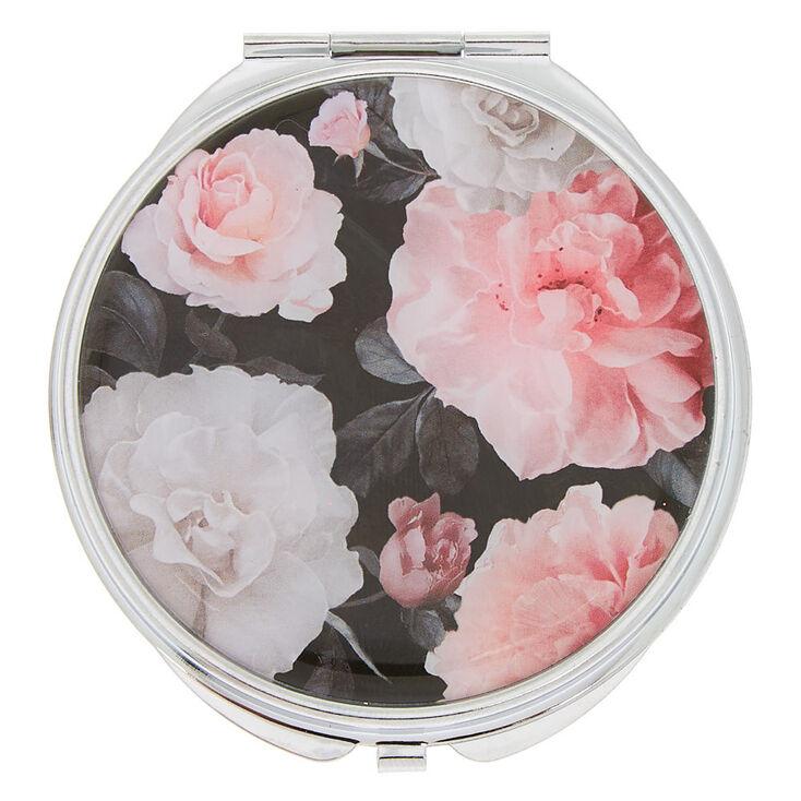 Floral Compact Mirror - Black,