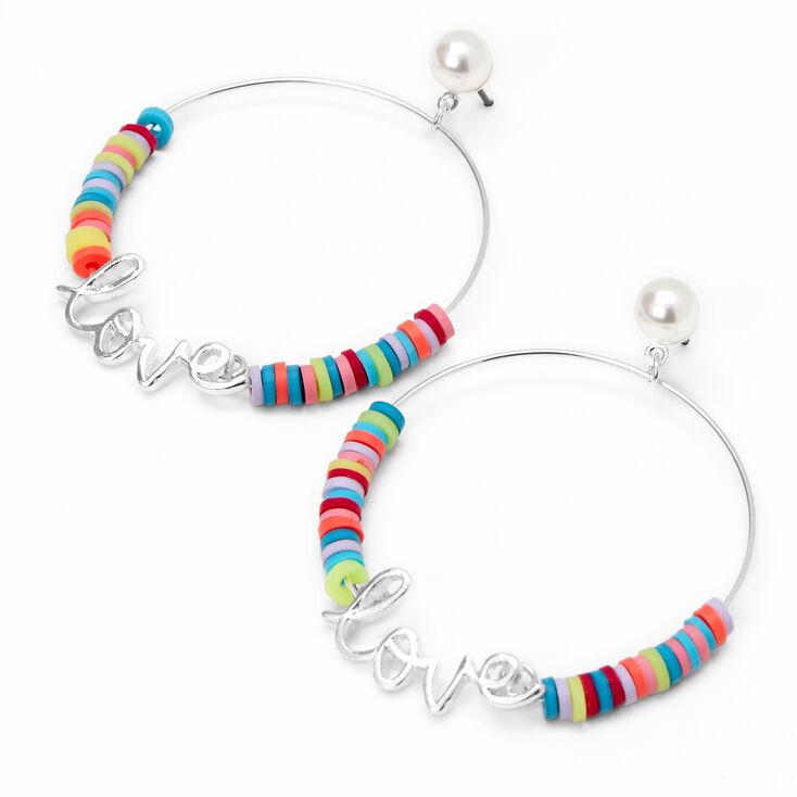 Silver Love Script Rainbow Disc Hoop Earrings,