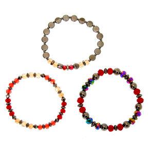 Hematite Bead Stretch Bracelets - Red, 3 Pack,