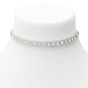 Silver Rhinestone Emerald Choker Jewelry Set - 3 Pack,