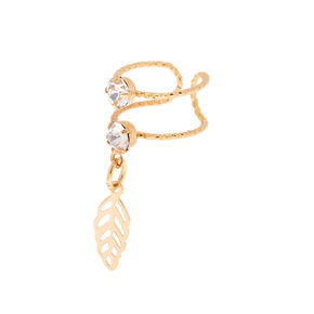 Gold Tone Double Band Ear Cuff with Leaf Charm,