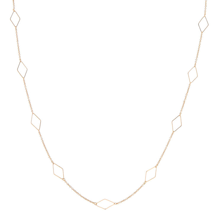Long Rose Gold Diamond Shapes Necklace,
