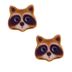 18kt Gold Plated Raccoon Stud Earrings,
