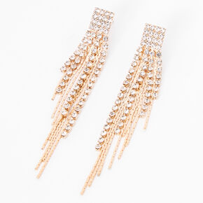 "Gold 3"" Rhinestone Linear Graduated Fringe Drop Earrings,"