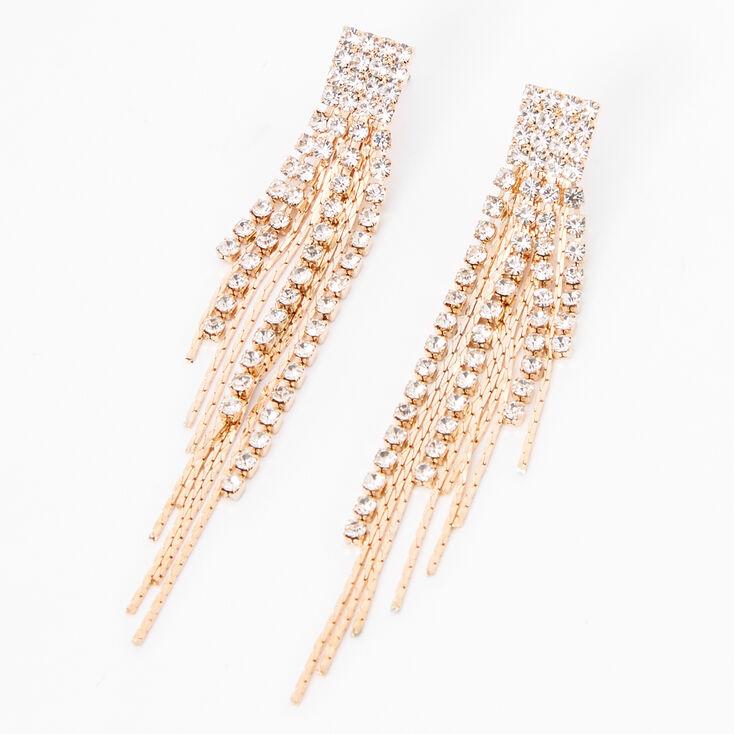 "Gold 3"" Rhinestone Linear Graduated Fringe Drop Earrings,"