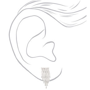 "Silver Rhinestone 1"" Fringe Drop Earrings,"
