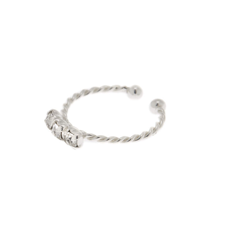 Sterling Silver Twisted Faux Cartilage Hoop Earring,