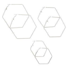 Silver Graduated Hexagon Hoop Earrings - 3 Pack,