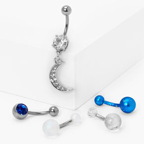 Silver 14G Crescent Moon Mixed Belly Rings - Blue, 5 Pack,