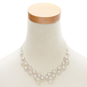 Glass Pearl Scalloped Statement Necklace,