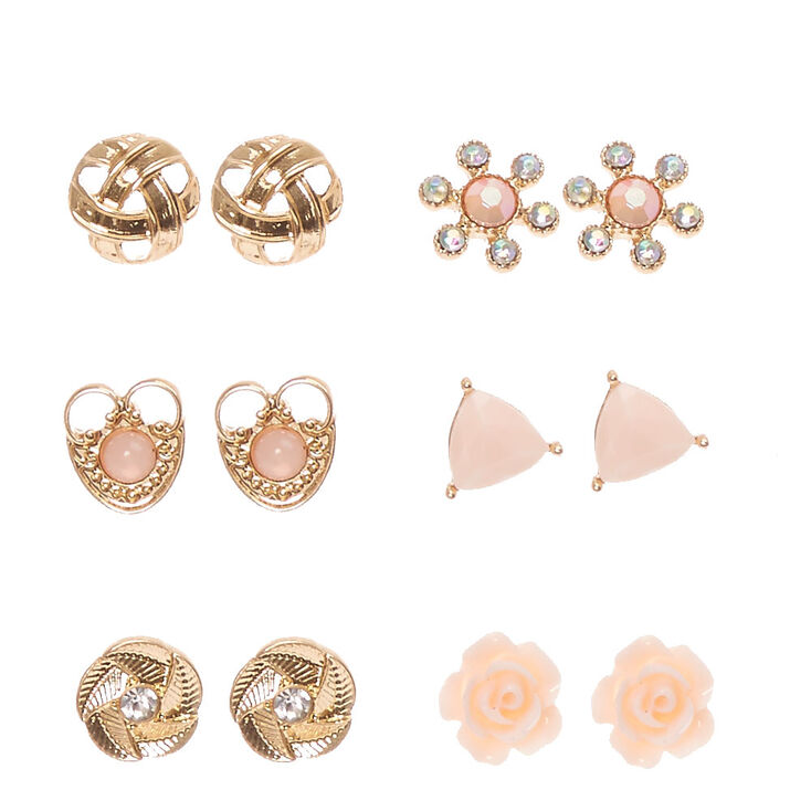 Gold Tone Blush Pink Rose Motif Stud Earrings,