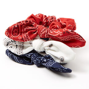 Small Bandana Red, White & Blue Knotted Bow Hair Scrunchies - 3 Pack,