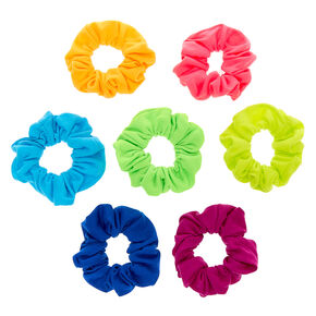 Neon Rainbow Hair Scrunchies - 7 Pack,