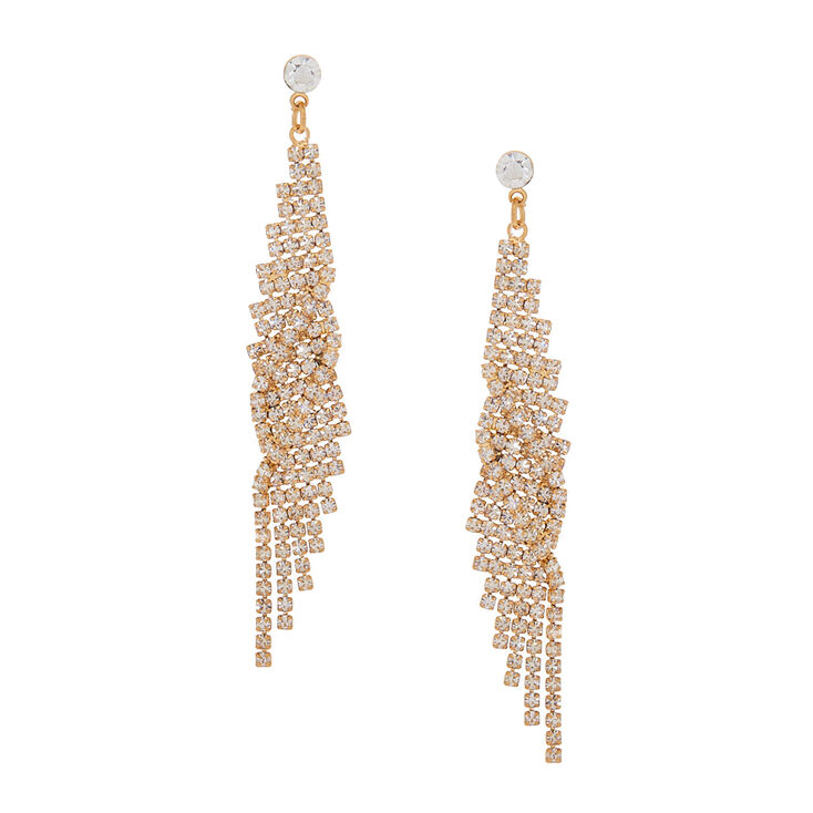 "Gold Glass Rhinestone 3"" Wing Drop Earrings,"