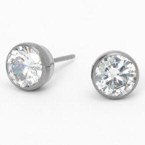 Silver Titanium Cubic Zirconia Round Bezel Stud Earrings - 7MM,
