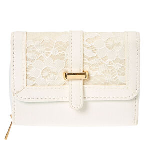 White Lace Faux Leather Wallet,