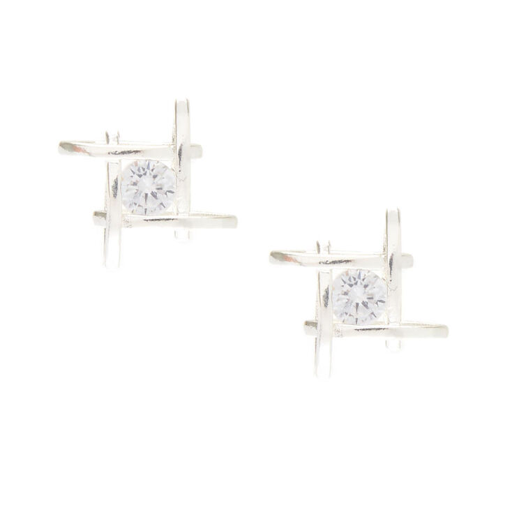 Criss Cross Cubic Zirconia Earrings,
