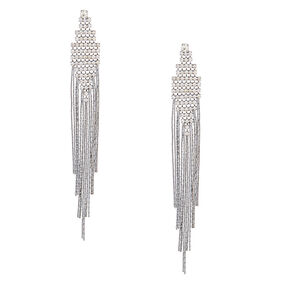 "Hematite 4"" Fringe Drop Earrings,"